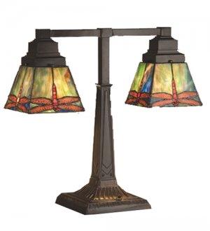 Meyda Tiffany Stained Art Glass Prairie Dragonfly 2 Arm Desk Lamp
