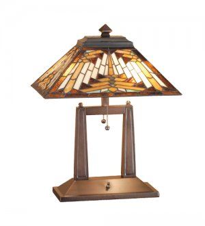 """Meyda Stained Glass 20"""" Tiffany Nuevo Navajo Mission Oblong Accent Table Desk Lamp"""
