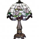 "Meyda Tiffany Stained art Glass 11.5""H Roseborder Mini Lamp"