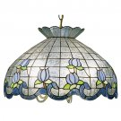 "Meyda Tiffany 20"" Stained Art Glass Roseborder Pendant Ceiling Light Fixture 31209"