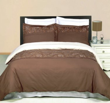 KING CAL/KING Geneva taupe gold ivory Embroidered 100% Egyptian cotton 3pc Duvet Cover Set