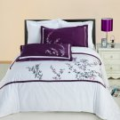 FULL QUEEN SPRING VALLEY Floral Lavender Embroidered 100% Egyptian cotton 3pc Duvet Cover Set