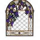 Meyda Tiffany Stained Art Glass Grape Diamond Trellis window panel