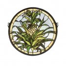 Meyda Tiffany Stained Art Glass Welcome Pineapple Round window panel