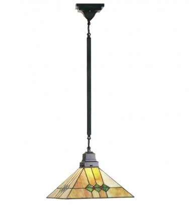 """Meyda Hand Crafted stained art glass  13"""" sq 36""""l Martini Mission Pendant Ceiling Light Fixture"""