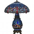 """Meyda Tiffany Stained Glass 25.5""""H Hanginghead Dragonfly Lighted Base   Table Lamp"""