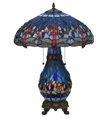 "Meyda Tiffany Stained Glass 25.5""H Hanginghead Dragonfly Lighted Base   Table Lamp"
