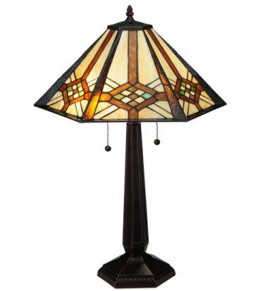 """Meyda Tiffany Stained Glass 26""""H Crosshairs Mission Style Accent Table Lamp"""