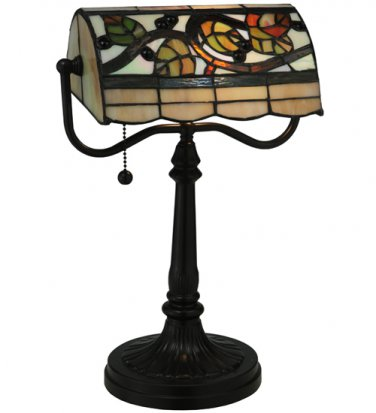 """Meyda Tiffany Stained Glass 15.25""""H Vineyard Bankers Accent Table Desk Lamp"""