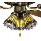 "Meyda Tiffany Stained Glass 4""W Jeweled Peacock Ceiling Fan Light Shade"