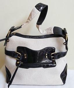 Women Natural Color Canvas & Black Faux Leather Satchel Shoulder Bag