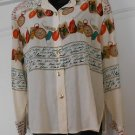WOMEN'S BOTTON DOWN SILK SHIRT  SILK  MULTI COLOR PRINT