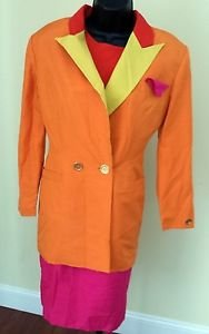 1980'S VINTAGE MULTI COLOR SILK DRESS & DOUBLE BREASTED JACKET SUIT SIZE 8