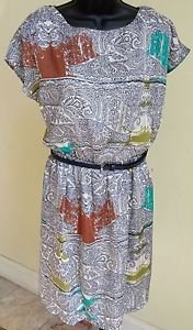 Luxology Multi Printed Belted Blouson Dress Size S ~ MSRP $69