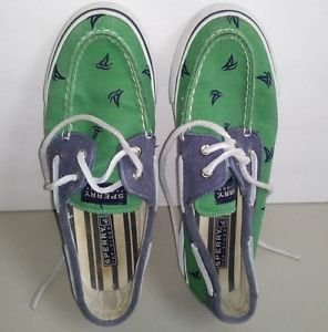 Sperry Top Sider Women�s Embroidered Khaki Canvas Boat Shoes size 7.5M