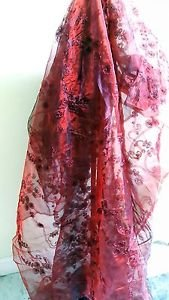 New Burgundy Ribbon Organza Fabric 60� Wide, 4-3/4 Yards Lot