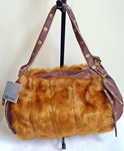 Metro 7 Leather & Faux Fur Shoulder Handbag Saddle