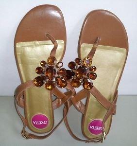 Greta Thong T-Strap Faux Jeweled Flat Sling back Women Sandal Size 6.5W
