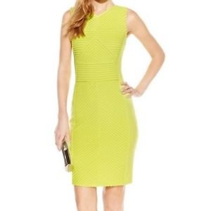 CALVIN KLEIN TEXTURED-STRIPE SHEATH DRESS CITRON SIZE 12 $134