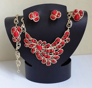 Gold Plated Red Stone Four Piece Costume Jewelry Set