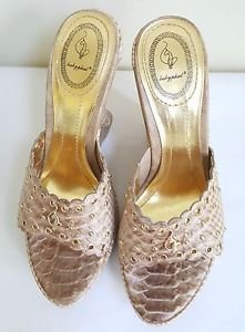 BABY PHAT WOMEN FAUX CROC STUDDED WEDGE SLIP ON SANDALS SIZE 7B