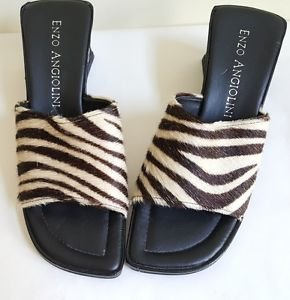 Enzo Angiolini Cowhide Fur Open Toe Slide Sandal Slippers Shoes US Size 8 Medium