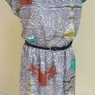 NWT Luxology Multi Printed Belted Blouson Dress Size L ~ MSRP $69