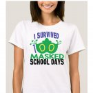 I Survived 100 Masked Days of School - Mardi Gras ADULT SMALL Short Sleeve