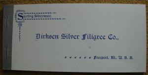 Philip Lincoln Keister.  Dirksen Silver Filigree Co. : Sterling Silverware