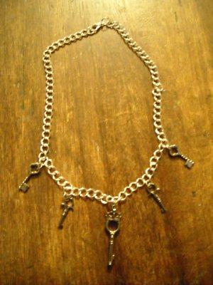 Mini Skeleton Key Charm Necklace