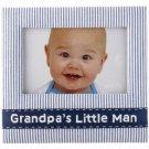 Grandpa's Little Man Navy Blue Seersucker Fabric Photo Picture Frame