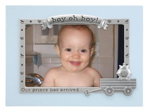 Blue Border 'Boy OH Boy!' Baby Photo Picture Frame