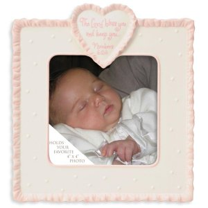 This is the Day Dedication Ceramic Baby Photo Picture Frame with Pink Border