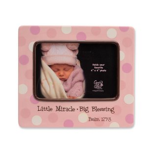 Pink Polka Dot 'Little Miracle....Big Blessing' Baby Girl Porcelain Photo Picture Frame