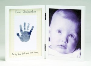 'Dear Godmother' Sweet Somethings Handprint White Wood Photo Picture Frame