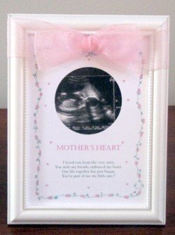 Mother's Heart with Poem White Wood Heart Collection Ultrasound Photo Picture Frame with BLUE Ribbon