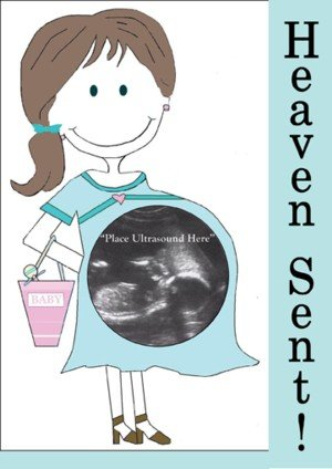 'Heaven Sent!' Magnetic Ultrasound Greeting Picture Frame with Clear Acrylic  Stand
