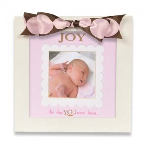 Defining Baby 'Joy' White Wood Picture Frame with Brown and Pink Polka Dot Ribbon