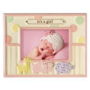 'It's A Girl' Dot Dot Dot Noah's Animals Stoneware Baby Photo Picture Frame