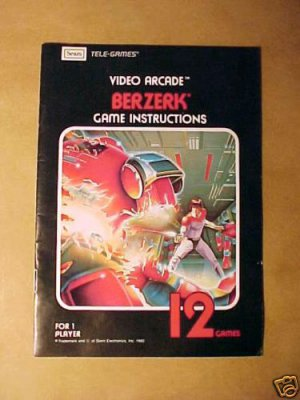 ATARI/SEARS BERZERK Game Instructions - 1982 - MINT!!