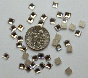 SQUARE Crystal Clear Swarovski Flatback 2400 Rhinestones 72 pieces 4mm