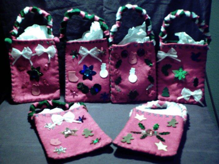 Set of 6 Crafty Handmade Homemade Christmas Holiday Gift Bags