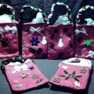 Set of 6 Crafty Handmade Homemade Christmas Holiday Gift Bags