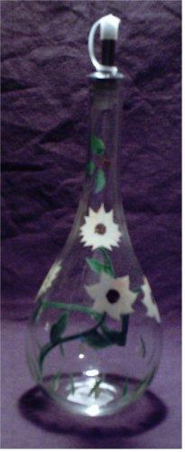 Lovely hand painted glass sunflower cruet bottle