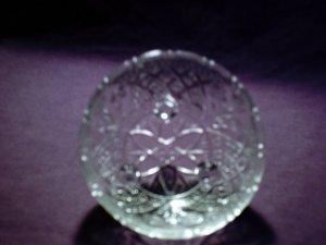 Pretty round cut glass bowl with 3 feet