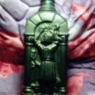 Green Bacchian Bacchus Romanesque bottle depicting wine harvest