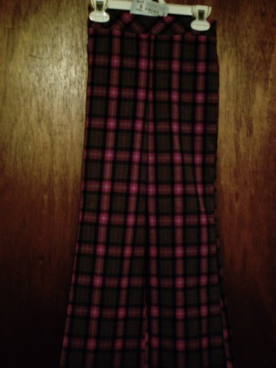 NWT Girls' size Small (6/6X) Xhilaration plaid purple and gray flared leg pants