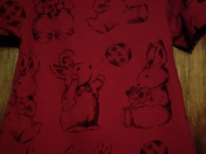 Like New Carter's Boys' red romper onesie with bunnies 18 - 24 months