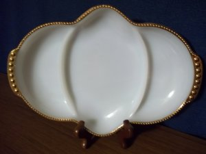 VINTAGE Fire King Gold-Trimmed & Beaded Onion-Shaped Platter