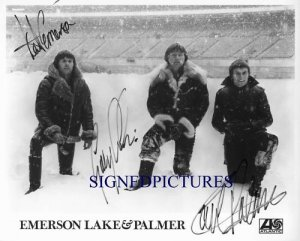 EMERSON LAKE AND PALMER SIGNED AUTOGRAPHED RP PHOTO